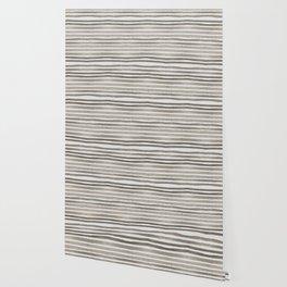 Simply Shibori Stripes Earth Brown on Lunar Gray Wallpaper
