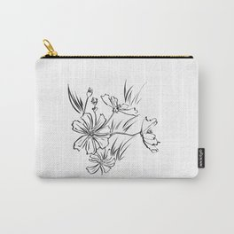 Cosmos Flowers Ink Drawing Carry-All Pouch
