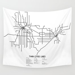 Twin Cities Lines Map Wall Tapestry