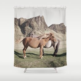 Rustic Horse Photograph in Mountains Shower Curtain