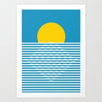 sunrise Art Prints featuring Sunrise by FLATOWL