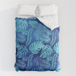 Iridescent Tropical Leaves in Elegant Blues and Aquas Comforters