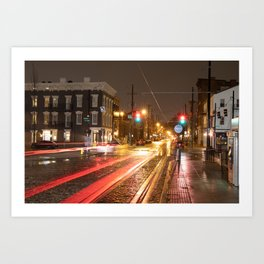 Findley Market Streetcar by Night, OTR, Cincinnati, Ohio. Art Print