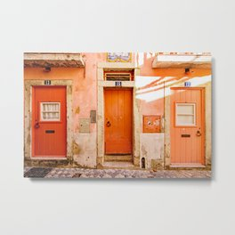 Ombre Orange and Coral Doors in the Alfama, Lisbon, Portugal Metal Print