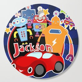 Jax-Red Car + Robots Cutting Board