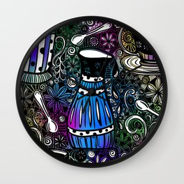 Coffee and Tea Time with flowers, swirls & rainbow background Wall Clock