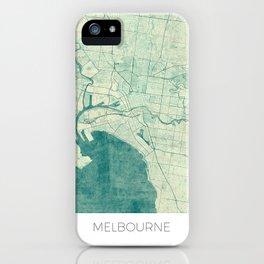 Melbourne Map Blue Vintage iPhone Case