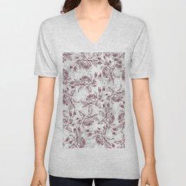 Vintage white gray burgundy floral marble Unisex V-Neck