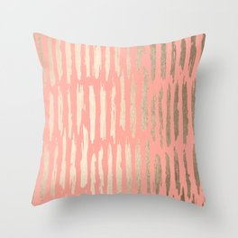 Vertical Dash Tahitian Gold on Coral Pink Stripes Throw Pillow