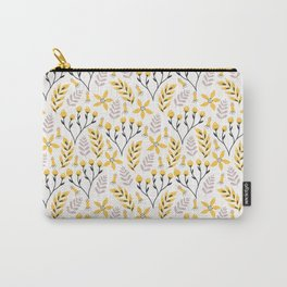 Yellow Floral on White Carry-All Pouch