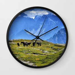 The Three Peaks of Lavaredo with Horses Landscape Wall Clock