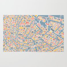 Amsterdam City Map Poster Rug