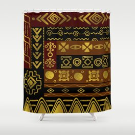 Ethnic African Golden Pattern on black and brown Shower Curtain