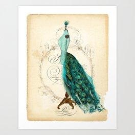 Peacock bustle mannequin Art Print