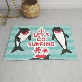Lets go surfing, Kawaii orca Rug