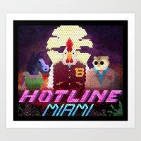 hotline miami Art Prints featuring Hotline Hexels - Hotline Miami by Marco Mottura - Mdk7