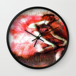 The Dancer by Edgar Degas Coral Red Wall Clock