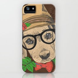 Cute Hipster Pup iPhone Case