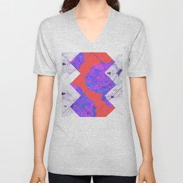 Abstract Geometric Peonies Flowers Design Unisex V-Neck