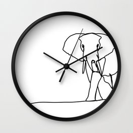 Solitary Elephant Line Art Wall Clock