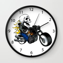 skull rider ride a motor cycle Wall Clock