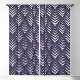 Abstract Watercolor Purple Leafs Pattern Blackout Curtain