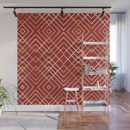 Modern Chinese Red Art Deco Geometric Pattern Wall Mural