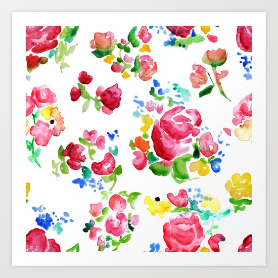 Watercolor Roses Art Print