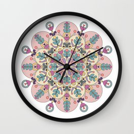 Happiness is Now Mandala Wall Clock