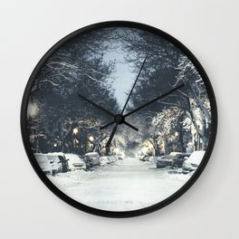 Montreal Snowy winter street Wall Clock