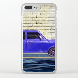 blue classic car on the road with brick wall background Clear iPhone Case