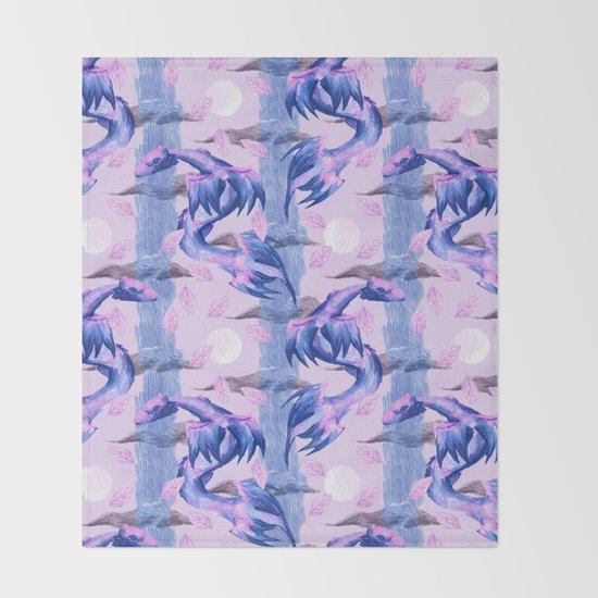 blue and pink lunar dragons pattern by mantrapop