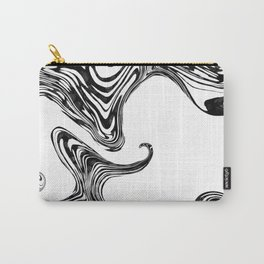 Black and White Liquid Marble Effect Design Carry-All Pouch