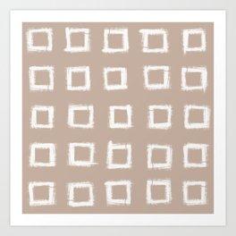 Square Stroke Dots White on Nude Art Print