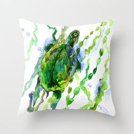 Green Turtle Olive green Wall art Throw Pillow
