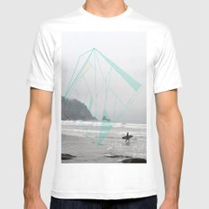 The Oregon Coast White Mens Fitted Tee MEDIUM