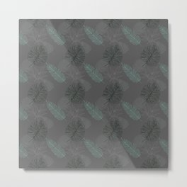 Dark Gray Foliage Pattern Metal Print