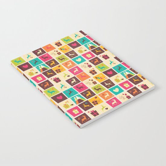Christmas square pattern 02 Notebook
