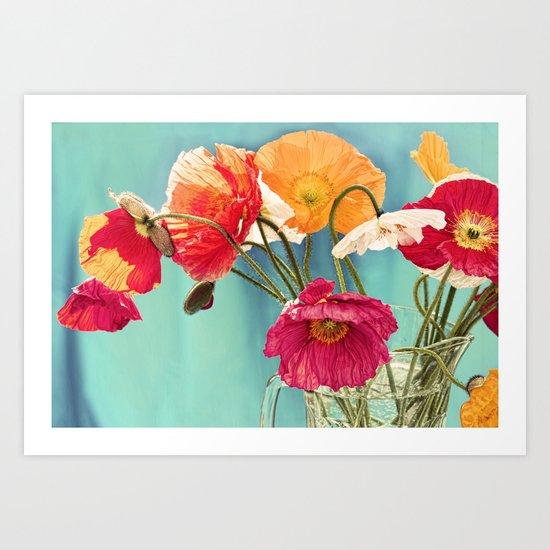 Bright Dancers - Vintage toned poppy flower still life Art Print