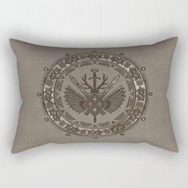Gungnir - Spear of Odin - Beige Leather and gold Rectangular Pillow