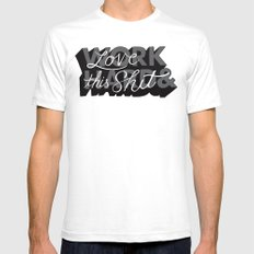 Work Hard & Love This Shit White SMALL Mens Fitted Tee