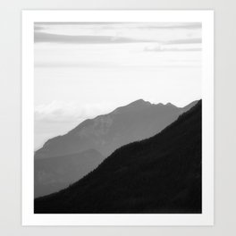 Black and white mountains Art Print