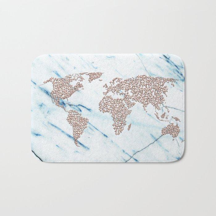 Rosegold Stars on Blue Marble World Map Bath Mat