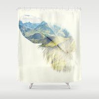 feather Shower Curtains featuring Feather by Kiki collagist