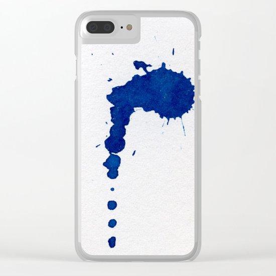 COBALT SPLATTER Clear iPhone Case