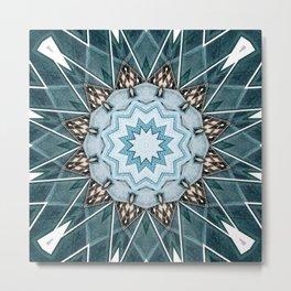 Structural Turquoise Mandala Metal Print