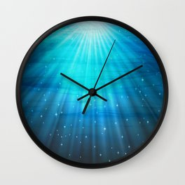 Fantasy Water Turquoise Blue Wall Clock