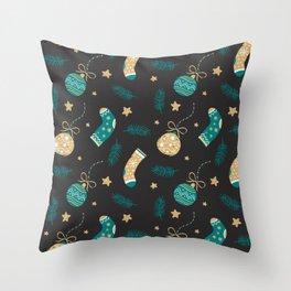 Christmas socks and balls Throw Pillow