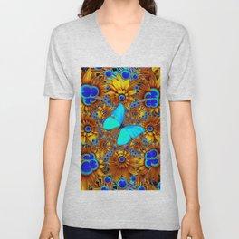 BLUE & GOLD ART DECO BUTTERFLIES & FLOWERS VIGNETTE Unisex V-Neck