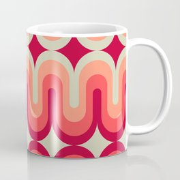 70s Geometric Design - Pink and Red Swoops Coffee Mug